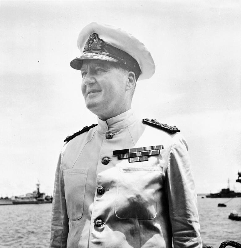 Admiral Sir Bruce Fraser became Commander in Chief of the British Pacific Fleet. Photograph taken on board HMS DUKE OF YORK at Guam.