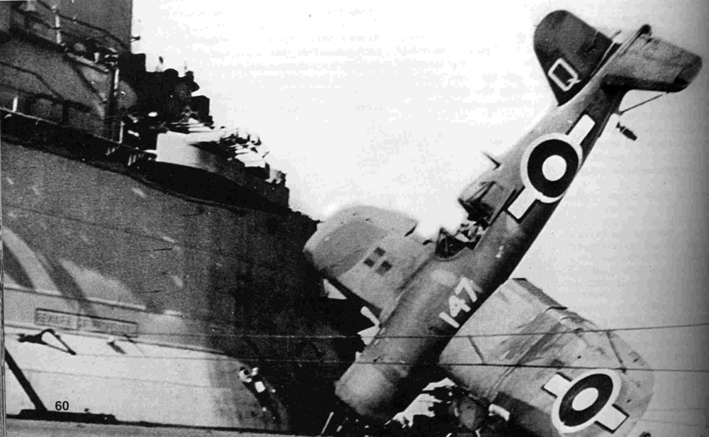 Top, Q147 - one of HMS ILLUSTRIOUS'S 1830 Squadron Corsairs, bounced badly upon landing on April 13 before, above, nosing into the island.