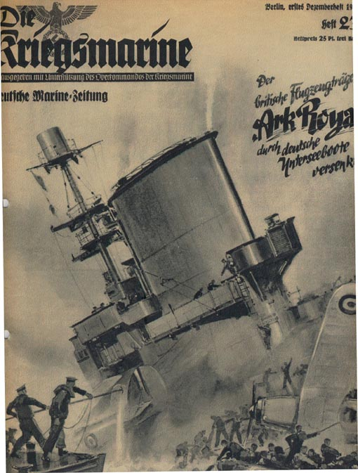 German propaganda claiming the sinking of HMS Ark Royal.