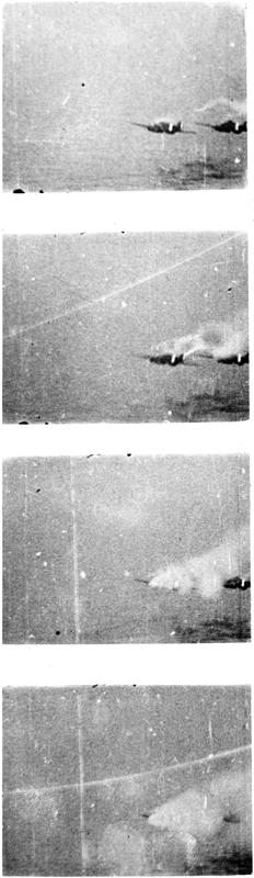 Gun camera pictures from HMS ARK ROYAL's Fulmars showing two Savoia 79 bombers being hit, with one bursting into flames before crashing.