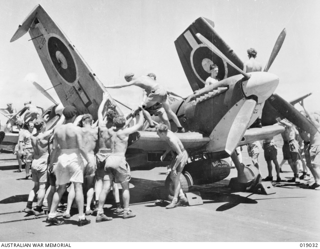 The folding wings of a Royal Navy Fleet Air Arm Seafire are unfurled hand over hand by mechanics aboard HMS implacable. Aircraft used on a carrier must have folding wings to enable the planes to be stowed in small hangars below the flight deck.
