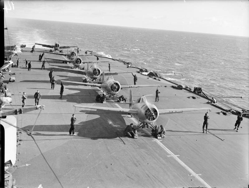 A flight of Martlets prepares for take-off aboard HMS FORMIDABLE in the Mediterranean.