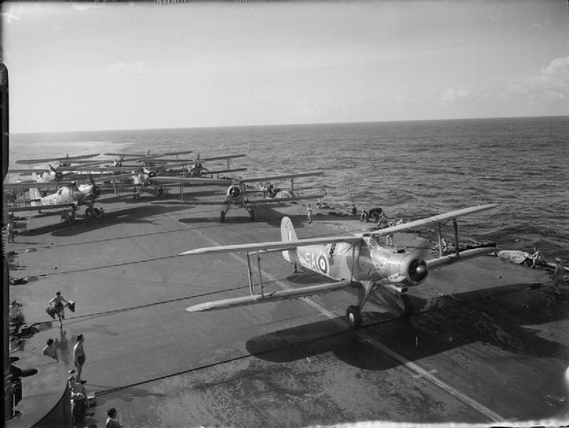Fairey Albacores of 820 Squadron, Fleet Air Arm being ranged on the flight deck of HMS FORMIDABLE whilst she is on active service.