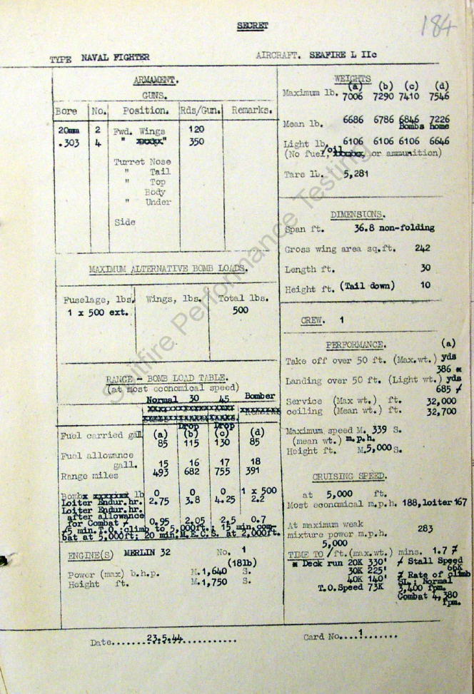An original Seafire L-IIC performance data sheet. CLICK HERE
