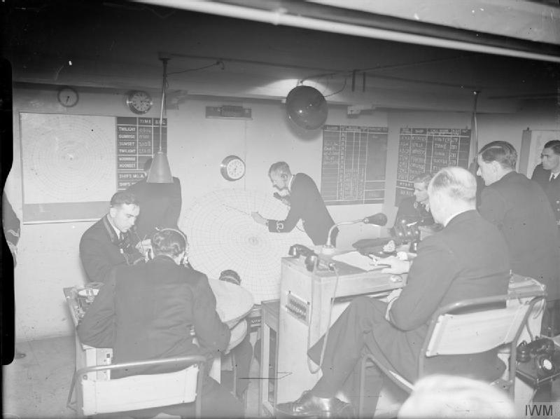The fighter direction instruction room housed in an old cider press at a Royal Naval Air Service Fighter Direction Centre at Yeovilton, Somerset.
