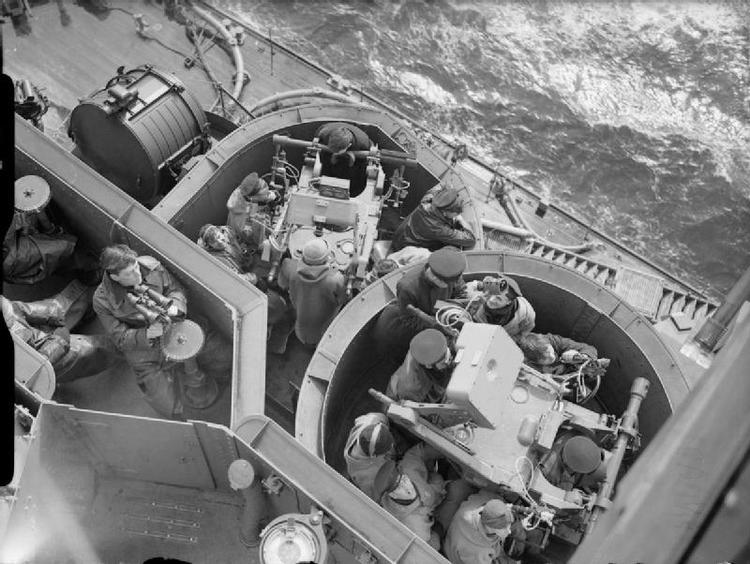 The Royal Navy during the Second World War Looking down on the pom-pom director controls of HMS KING GEORGE V.