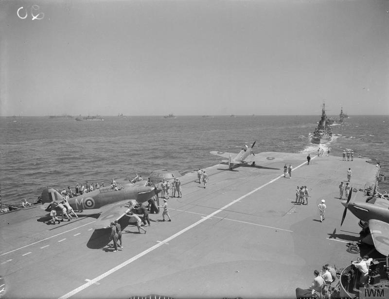 Sea-Hurricanes on the flight deck of HMS INDOMITABLE during Operation Pedestal.