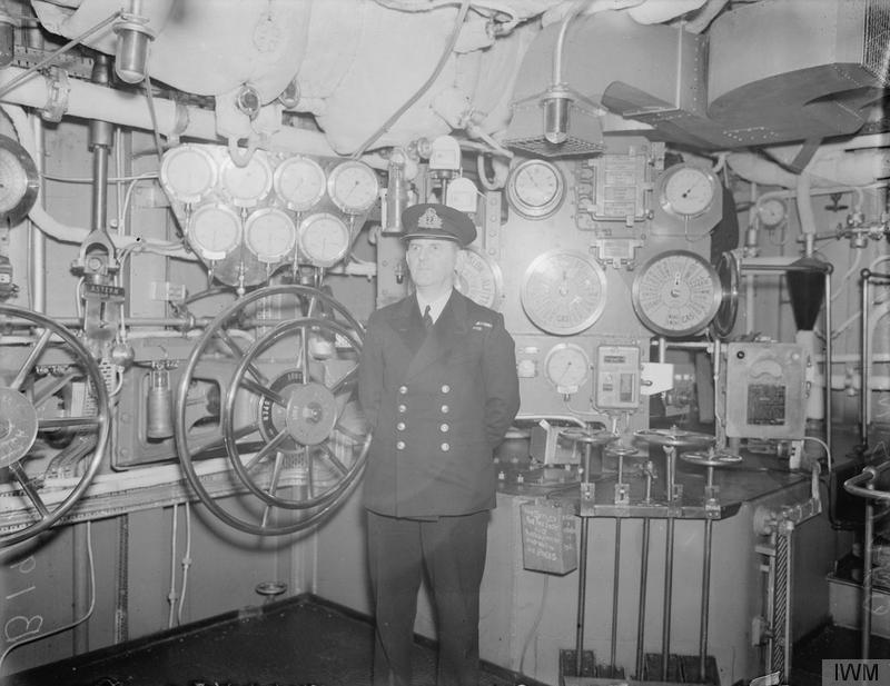 Inside the machinery control room of HMS VICTORIOUS, December 1941.
