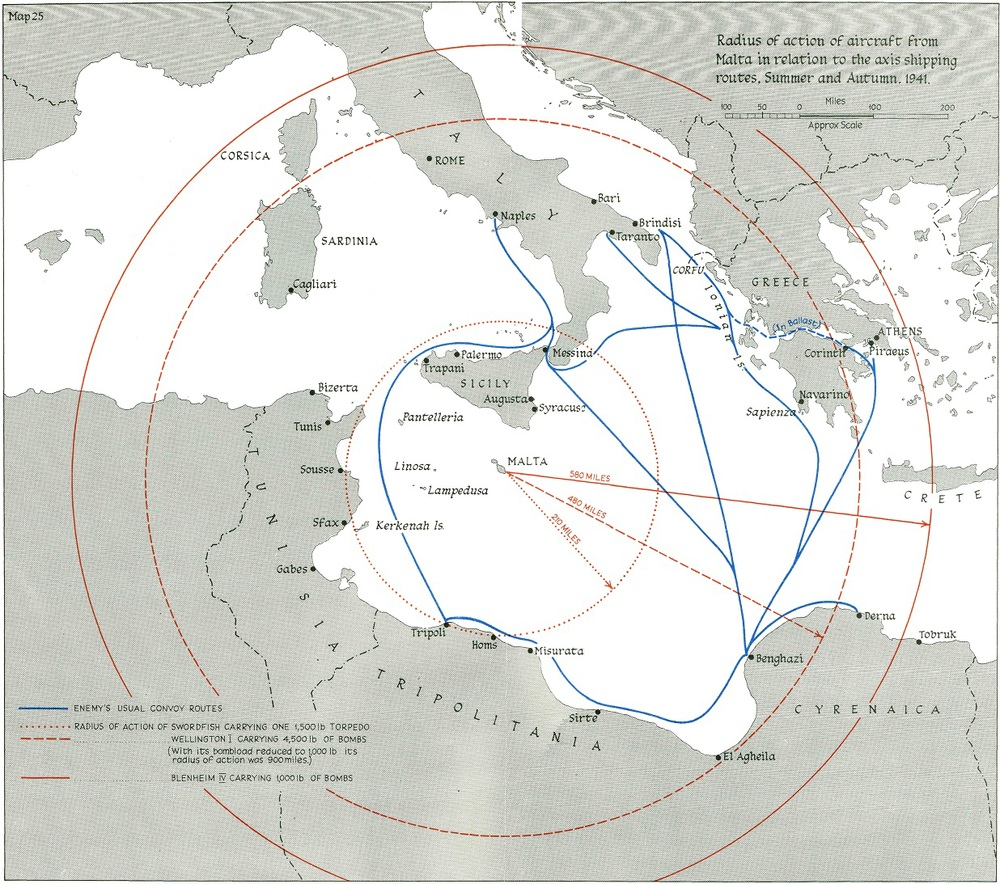 Heart of the matter ... The radius of action for aircraft operating from Malta in 1941.