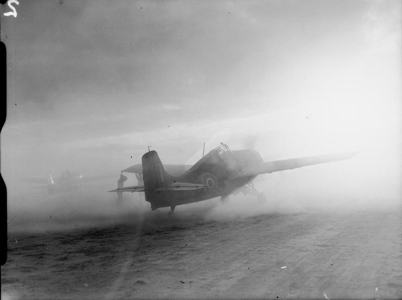 A Martlet of 881 Squadron operating on a sandy strip in East Africa.