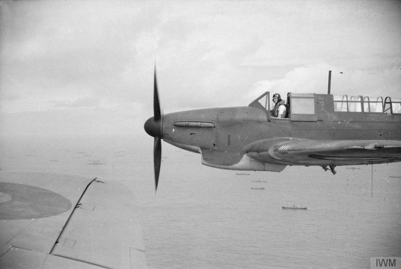 Fulmars of 807 Squadron patrol above a convoy in April 1941