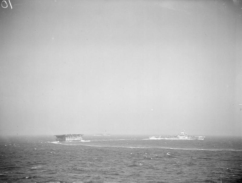 Preliminary movements 3 - 10 August 1942: HMS VICTORIOUS followed by ARGUS, with EAGLE in the distance.