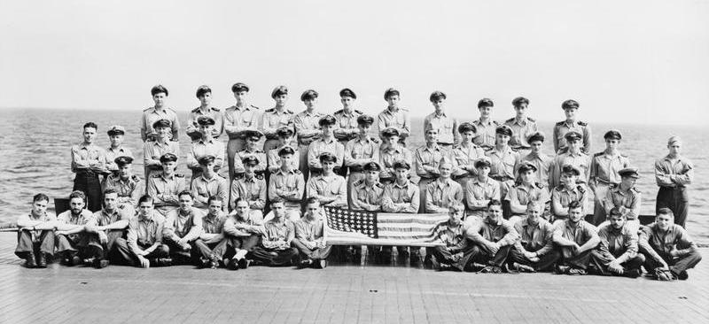 832 Squadron FAA Avenger crew aboard USS SARATOGA.