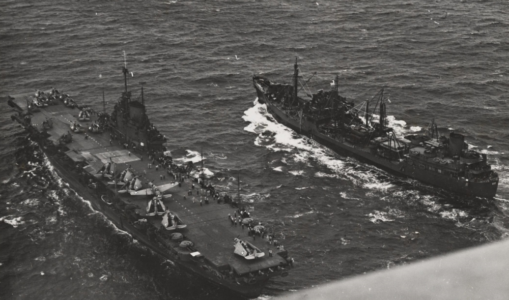Another view of HMS VICTORIOUS and USS CIMARRON.
