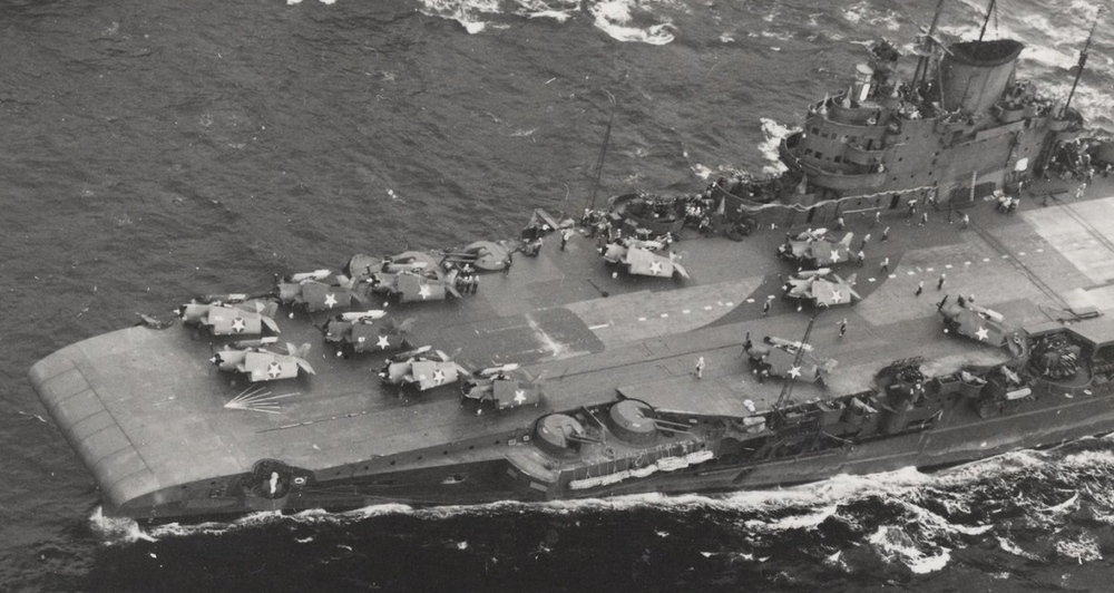 Mixed markings ... Avengers and Martlets in a variety of camouflage schemes, though all carrying the USN star, on the deck of 'USS ROBIN' (HMS VICTORIOUS). One colour scheme represents the modified F4F's delivered to British Martlet specifications. The other would denote USN Wildcats from SARATOGA. Which scheme is which ...