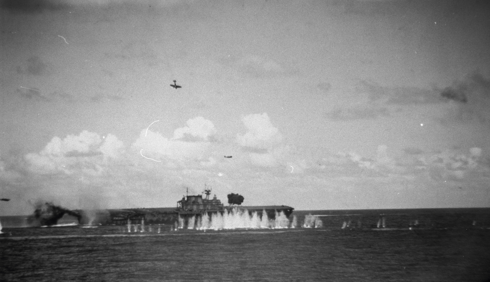 Japanese aircraft converge on USS HORNET during the battle of Santa Cruz.