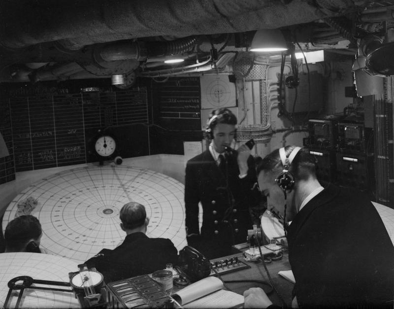 HMS VICTORIOUS' fighter direction room in 1942.