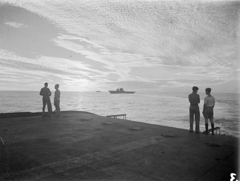 'Do you hear there! This is the captain speaking. If anyone isn't too busy to come up on the flight deck there is something there worth seeing' ... One of the most beautiful sunsets any ... had ever seen or were likely to see again. April 18, 1944. (Kenneth Poolman, Illustrious).