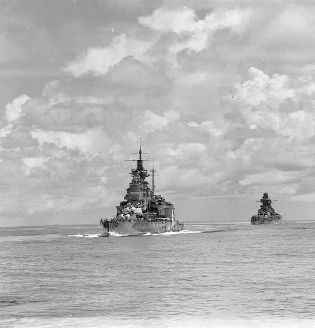 HMS Queen Elizabeth and the French battleship Richelieu providing cover as part of Task Force 69.