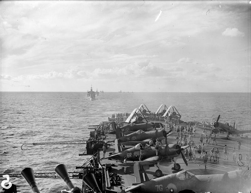 The Eastern Fleet forms up in line-ahead prior to farewelling the US ships, as seen from HMS ILLUSTRIOUS.