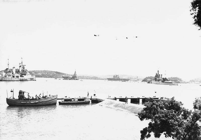 HMS NEWCASTLE (cruiser), HMS ILLUSTRIOUS (carrier), USS SARATOGA (carrier), HMS VALIANT (battleship), HMS RENOWN (battleship) in Trincomalee Harbour.