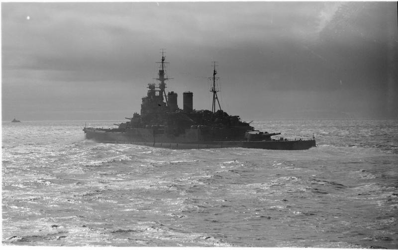 The heavily modernised battlecruiser HMS RENOWN was no stranger to defending carriers. She, along with the cruiser HMS SHEFFIELD, had formed the core of Force H with HMS ARK ROYAL during the early months of the war against Italy.