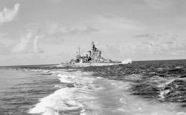 HMS VALIANT pictured as Task Force 65 steamed towards Surabaya.