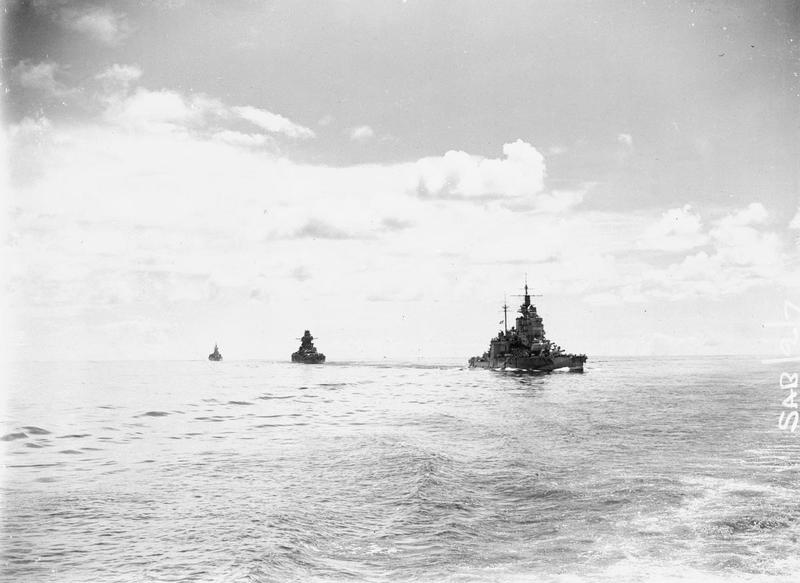 HMS VALIANT, FS RICHELIEU and HMS RENOWN in the Bay of Bengal in the lead-up to the attack on Sabang..