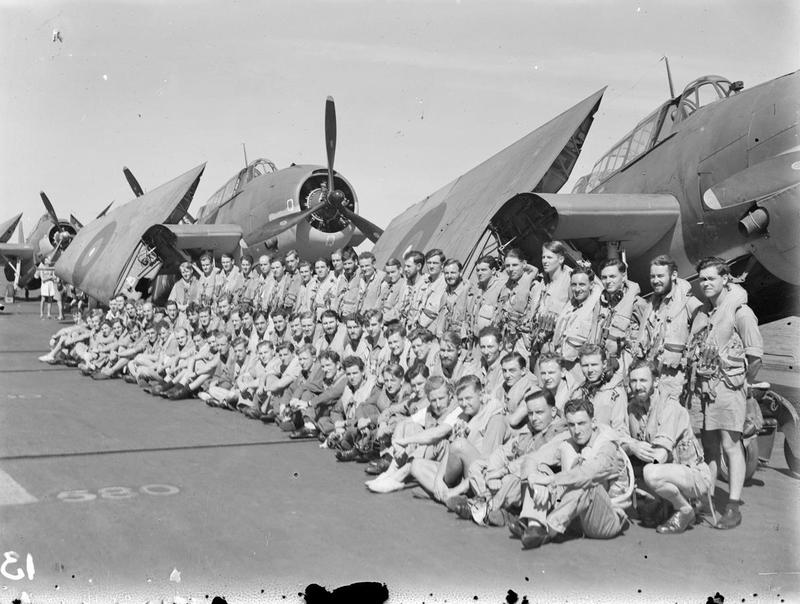 Some of the bomber crews of 832 and 845 Squadron who took part in the Surabaya raid. Front row are gunners, middle row, observers, and standing, pilots.