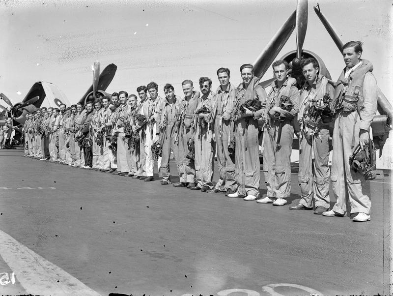 ILLUSTRIOUS's Corsair fighter pilots who formed bomber escort and umbrella for fleet during the Surabaya operation.