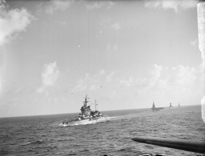 HMS WARSPITE with FORMIDABLE, RESOLUTION and ROYAL SOVERIGN