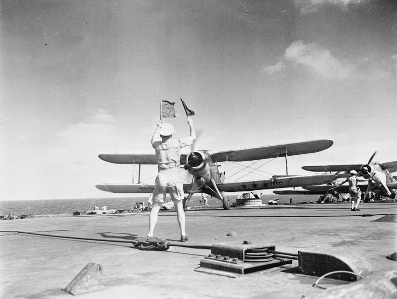 Albacores prepare for take-off from HMS FORMIDABLE.