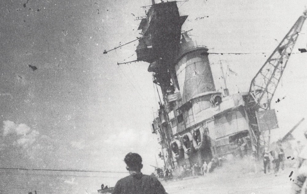 HMS Hermes, sunk off Ceylon on April 9, 1942. Picture by Charles Morgan in the book The Hermes Adventure.