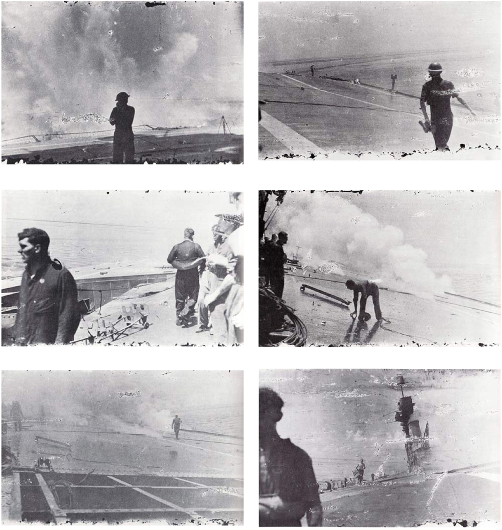 An incredible sequence of photos showing the devastation on HMS Hermes flight deck as she struggles towards the coast of Ceylon. Picture: Charles Morgan, in the book Hermes Adventure by Rex Morgan
