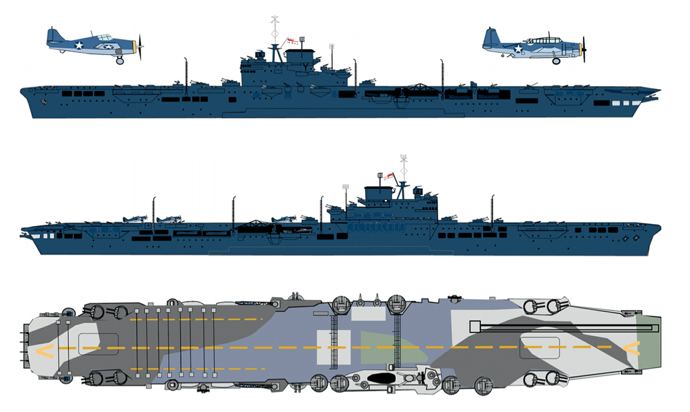 "'USS Robin' (HMS VICTORIOUS) was painted in the same manner as US carriers to reduce the chances of her being confused with Japanese ships by US observers. Her deck was given a disruptive pattern, though the design above - including the ""V"" recognition letters - does not appear to be very accurate when compared to the photos seen elsewhere on this page.  Source: British and Commonwealth Warship Camouflage of WWII, Volume 2, Battleships and Aircraft Carriers, by Malcolm Wright"