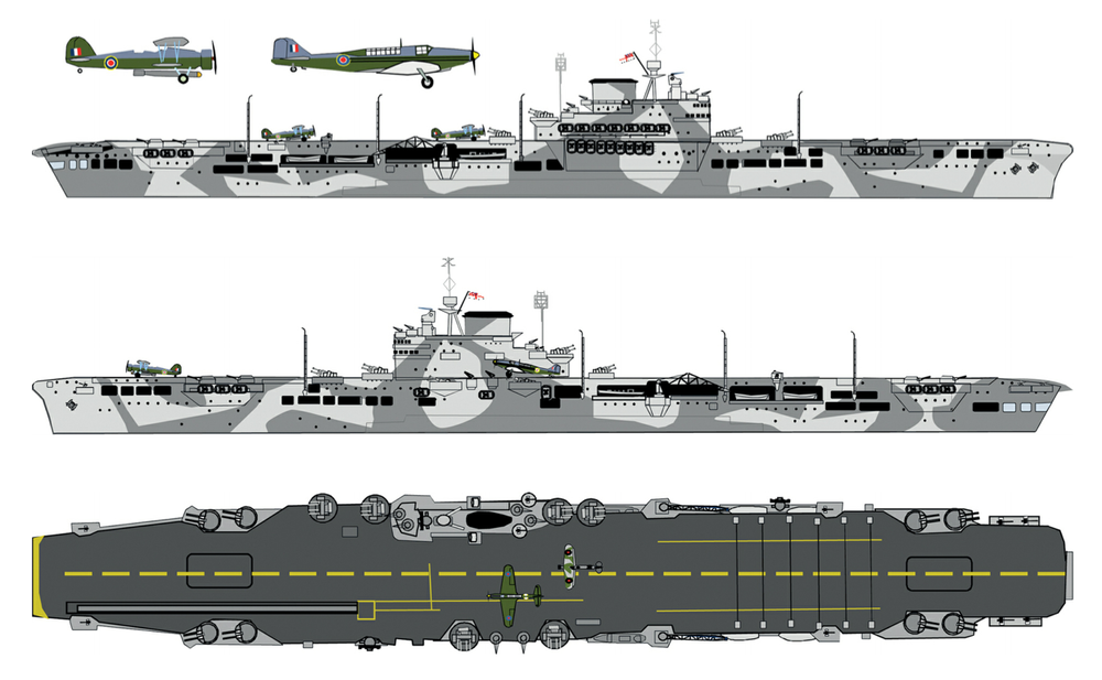 HMS Illustrious wore this MS4a pattern applied over the previous overall B6 at the time of the January 10 1941 attack. While the pattern was very similar on both sides, the port side appears to have incorporated more curves. The deck was 507a and the markings dull yellow. By January 10 the broken flight deck centre line had been painted into a solid stripe. Source: British and Commonwealth Warship Camouflage of WWII, Volume 2, Battleships and Aircraft Carriers, by Malcolm Wright
