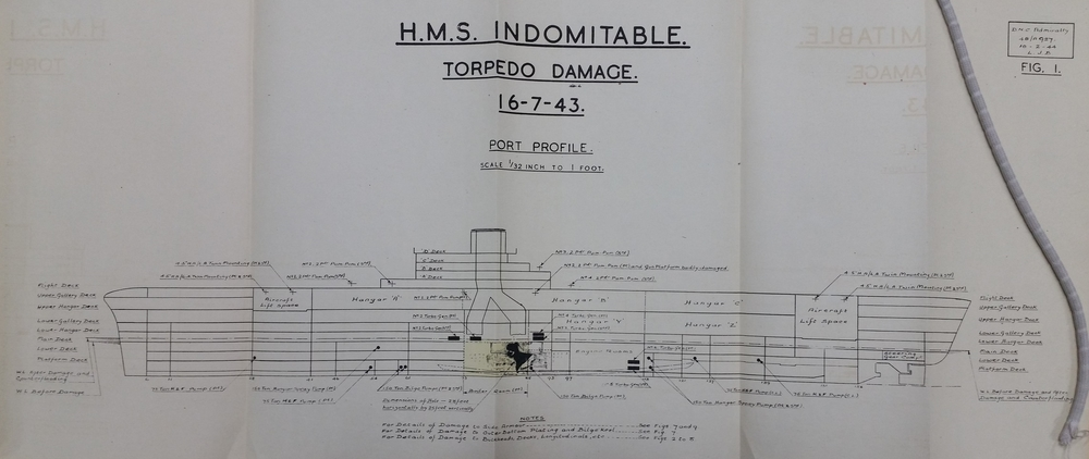 HMS INDOMITABLE's official damage report diagram for the effects of the torpedo impact of July 16, 1943. Click the image to see a larger view.