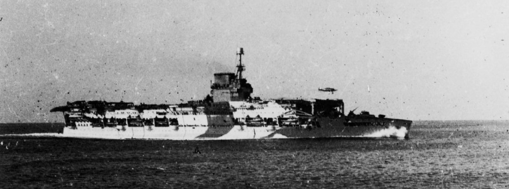 HMS GLORIOUS flies off RAF Hurricanes of 46 Squadron.