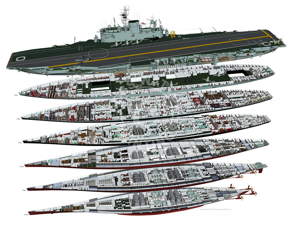 Click on the above image to be taken to the original artist's web site. The cutaway shows HMS Ark Royal, completed to a more modified design than Eagle. The flight deck arrangement had been adapted to accommodate an angled flight deck and a side lift. Its underlying arrangement is still evident, however.