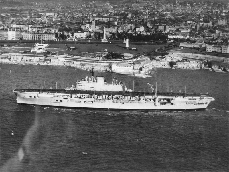 Audacious class aircraft carrier HMS EAGLE underway off Southsea.