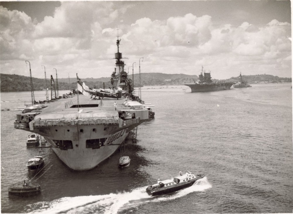 HMS ILLUSTRIOUS and USS SARATOGA in Trincomalee.