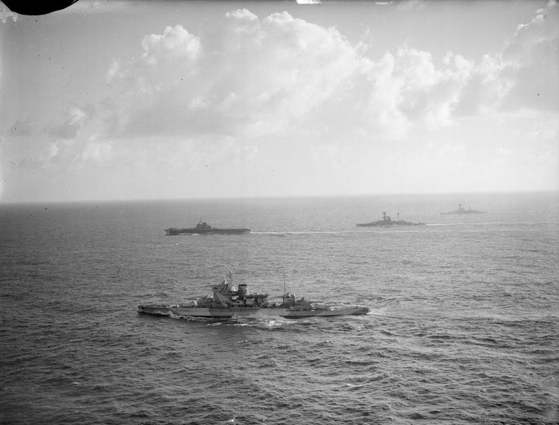 "HMS WARSPITE, ILLUSTRIOUS and two ""R"" class battleships."