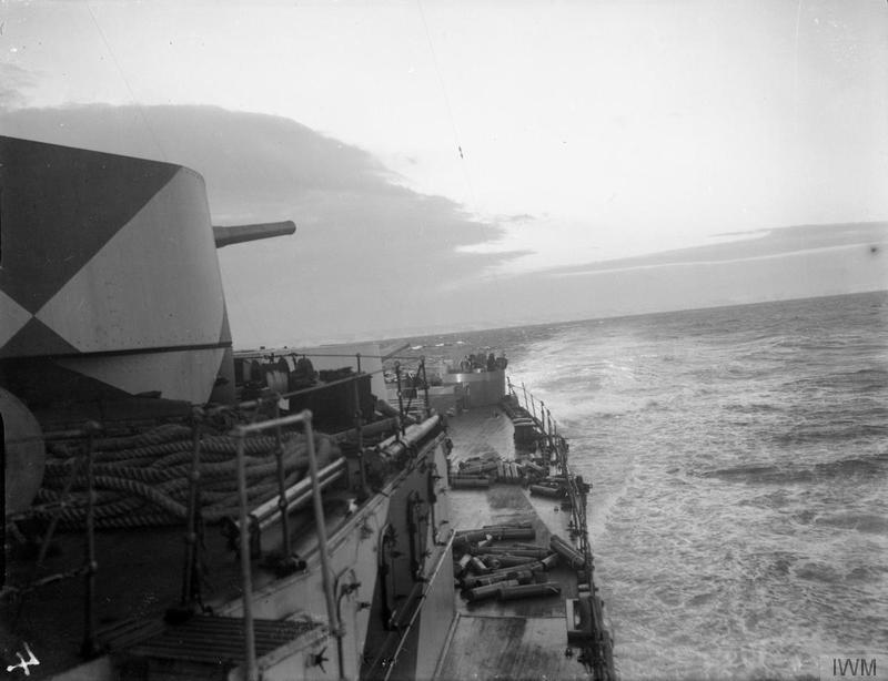 HMS AJAX, looking astern, at sea in the Mediterranean.