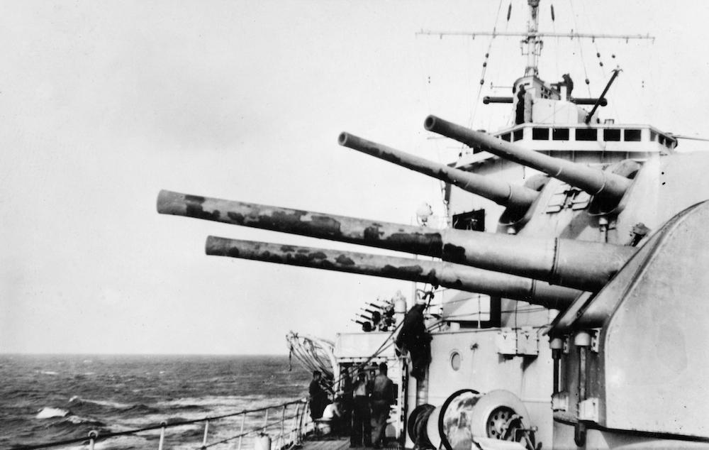 HMAS SYDNEY's blistered gun turrets.