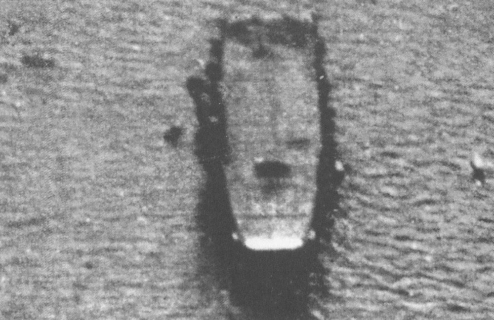 A poor quality image, but the only known image showing the ship from overhead on the bows, of IJN Taiho at  Tawitawi, Borneo.