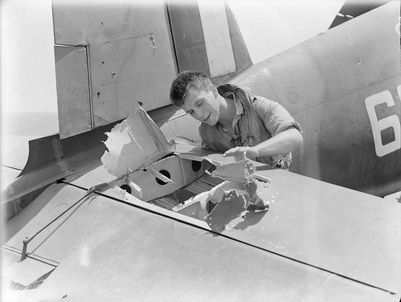 Sub Lieut (A) John R Baker, RCNVR, of Toronto, Canada, looking at the hole that a Japanese shell tore in the elevator of his Chance-Vought Corsair fighter.