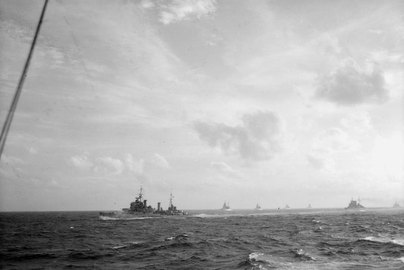 Eastern Fleet big ships off Sabang. left to right: HMS KENYA, QUEEN ELIZABETH, VALIANT, RENOWN, FS RICHELIEU and HMS CUMBERLAND.