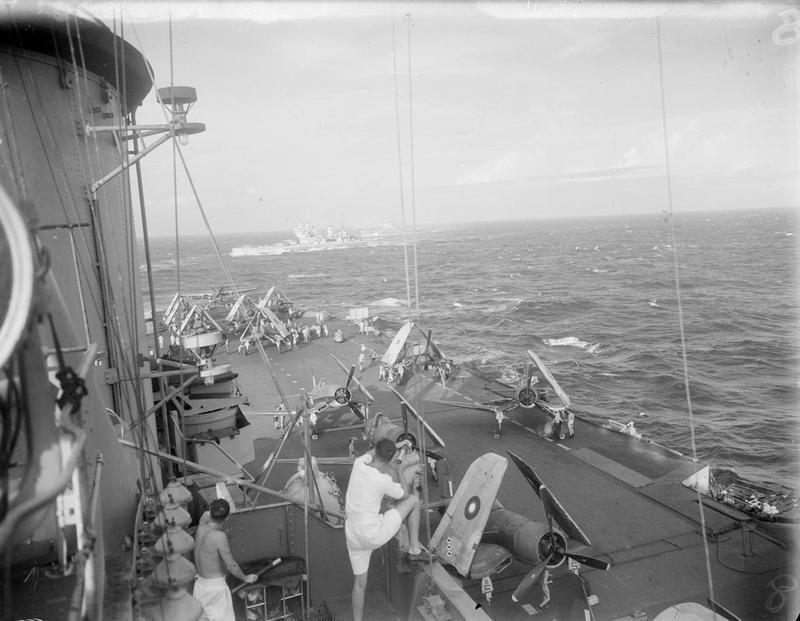 Activity on the flight deck of HMS VICTORIOUS before the attack on Japanese maintenance facilities on Sigli.