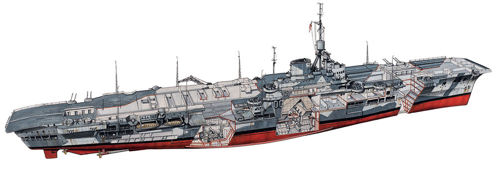 Source: British Aircraft Carriers 1939 - 1945 (New Vanguard) . Click on the image for an enlarged view. Illustrious is shown here in her January 1941  camouflage scheme.