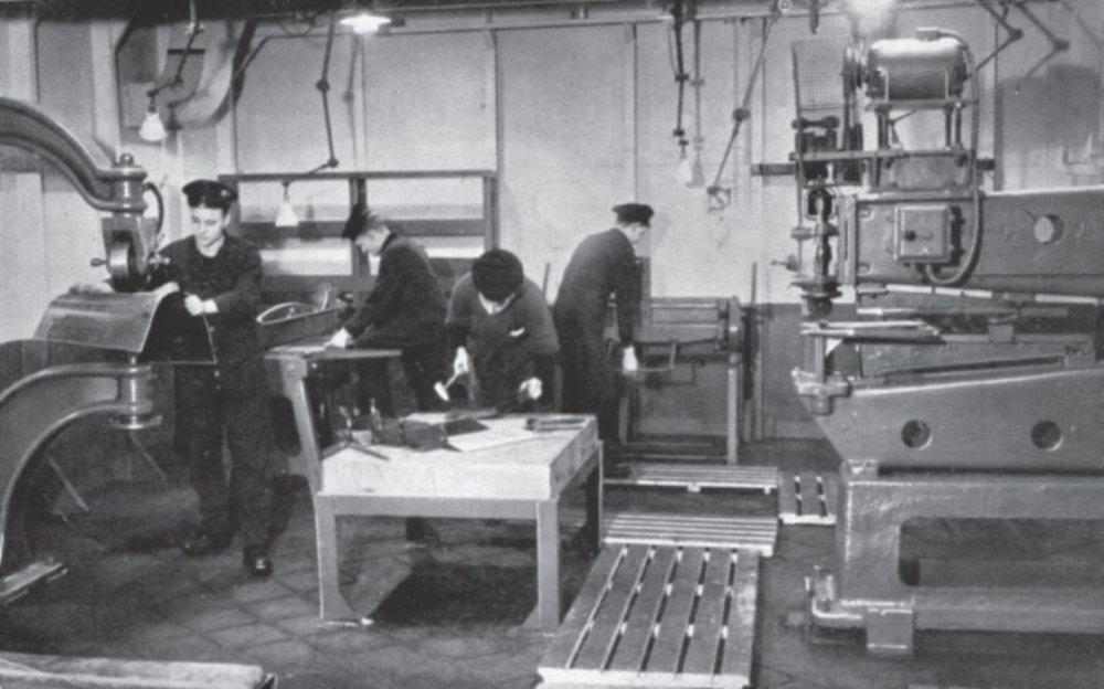 Machine-shop facilities in action aboard HMS UNICORN.